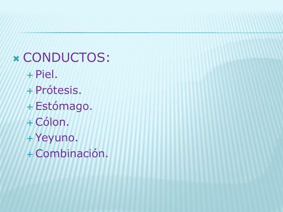 CONDUCTOS: Piel. Prótesis. Estómago. Cólon. Yeyuno. Combinación.