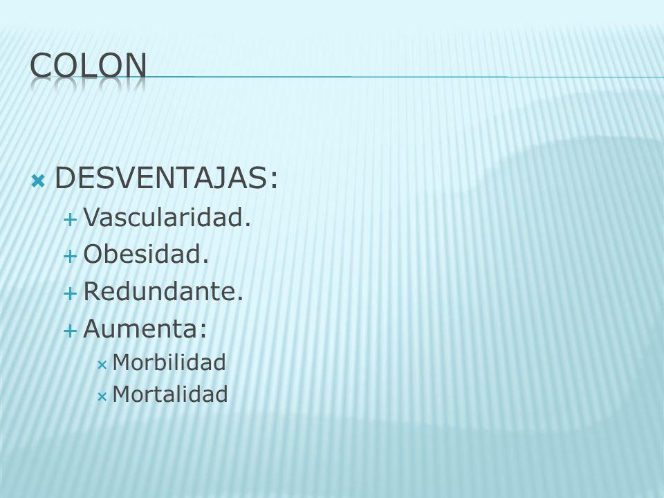 COLON DESVENTAJAS: Vascularidad. Obesidad. Redundante. Aumenta: