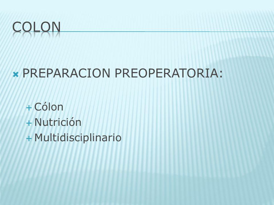 COLON PREPARACION PREOPERATORIA: Cólon Nutrición Multidisciplinario