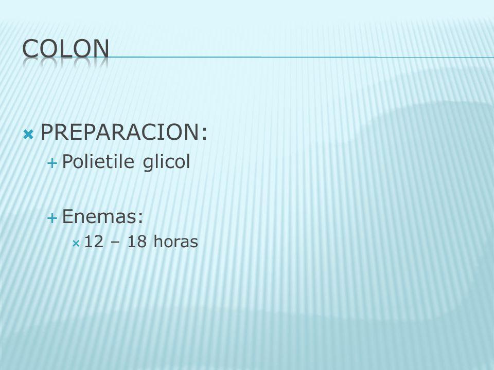 COLON PREPARACION: Polietile glicol Enemas: 12 – 18 horas