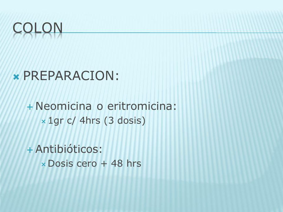 COLON PREPARACION: Neomicina o eritromicina: Antibióticos: