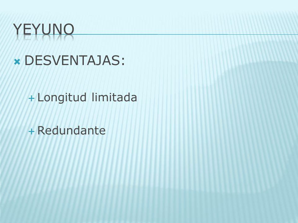 YEYUNO DESVENTAJAS: Longitud limitada Redundante