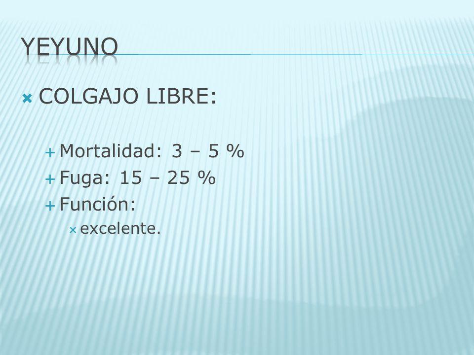YEYUNO COLGAJO LIBRE: Mortalidad: 3 – 5 % Fuga: 15 – 25 % Función: