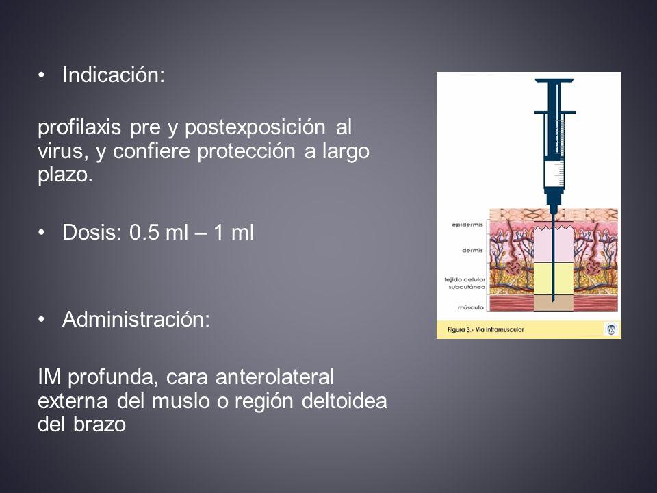 Indicación: profilaxis pre y postexposición al virus, y confiere protección a largo plazo. Dosis: 0.5 ml – 1 ml.