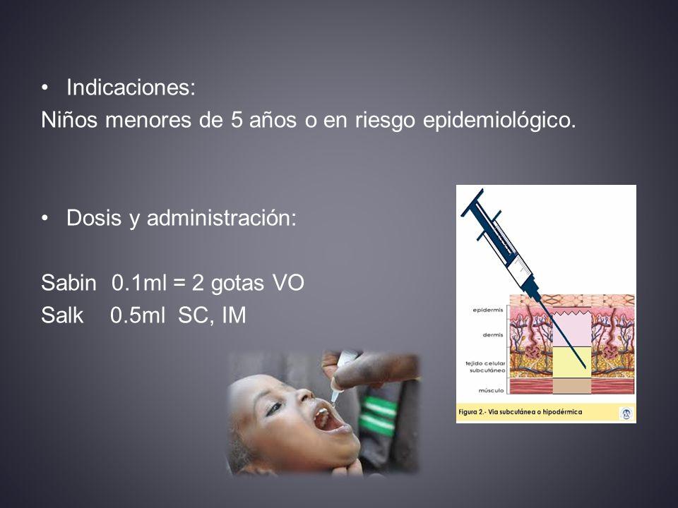 Indicaciones: Niños menores de 5 años o en riesgo epidemiológico. Dosis y administración: Sabin 0.1ml = 2 gotas VO.