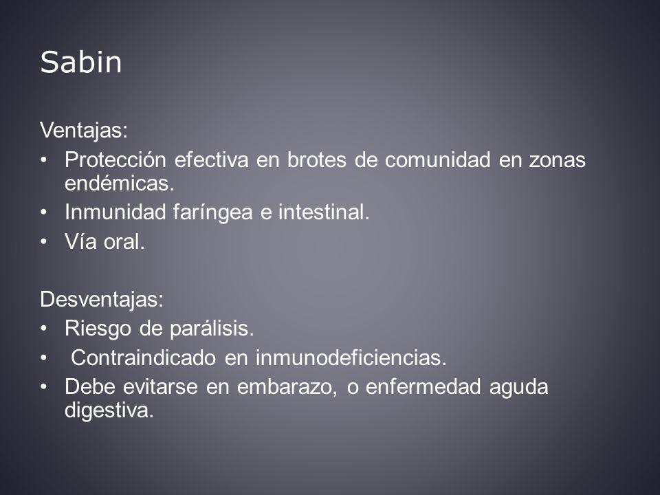 Sabin Ventajas: Protección efectiva en brotes de comunidad en zonas endémicas. Inmunidad faríngea e intestinal.
