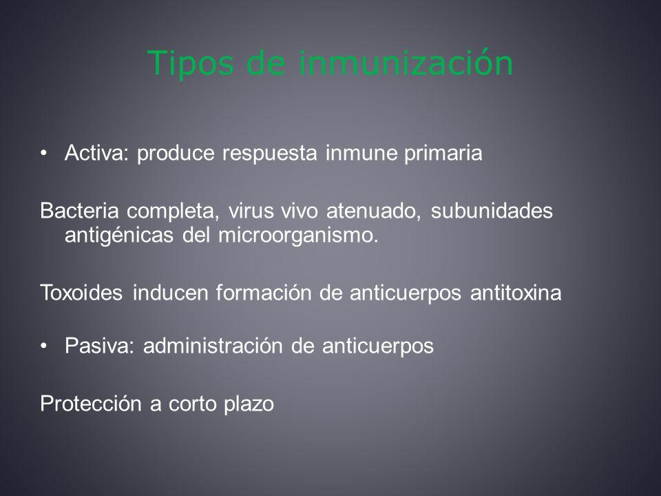 Tipos de inmunización Activa: produce respuesta inmune primaria