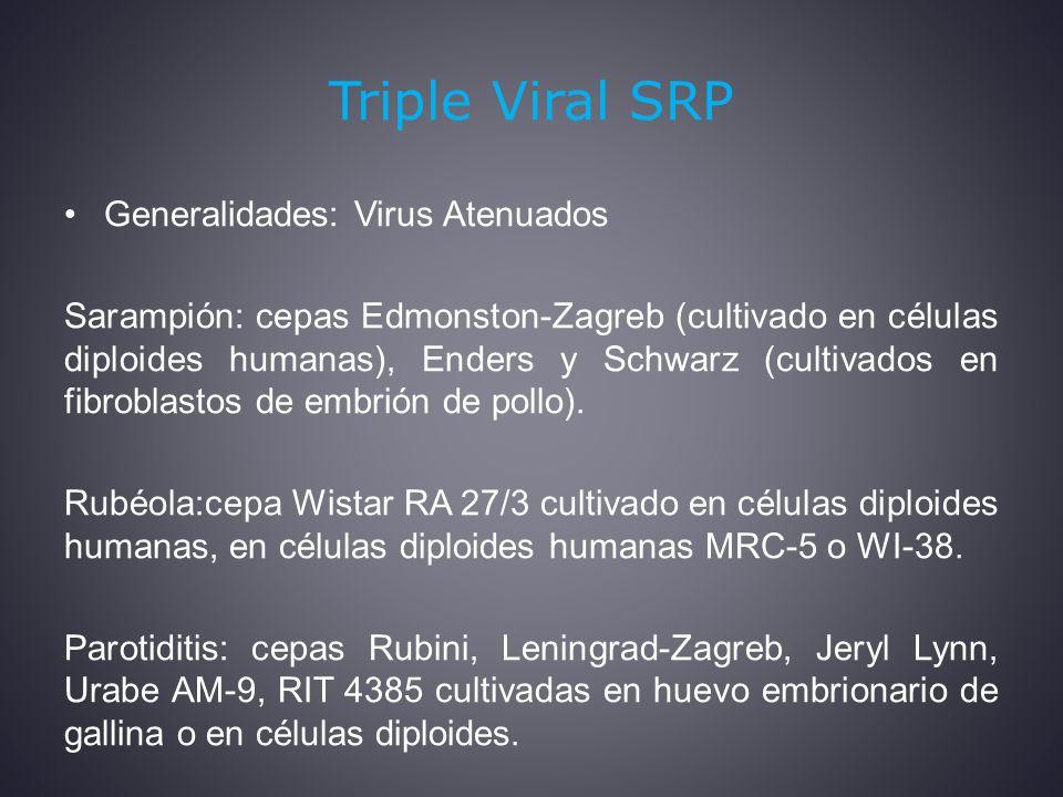 Triple Viral SRP Generalidades: Virus Atenuados