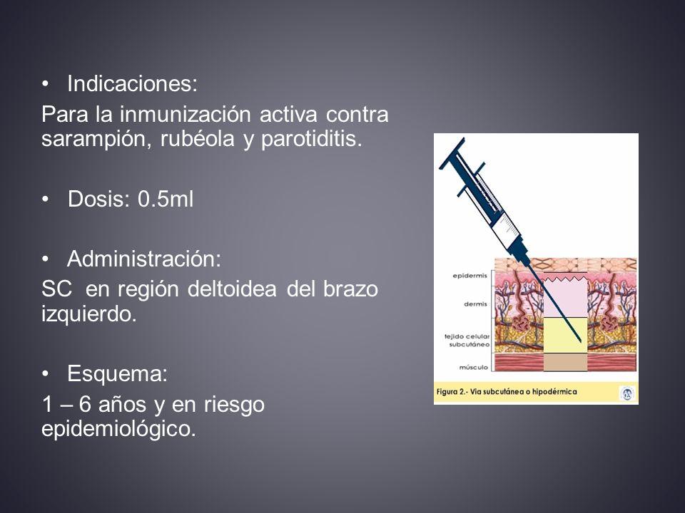 Indicaciones: Para la inmunización activa contra sarampión, rubéola y parotiditis. Dosis: 0.5ml. Administración: