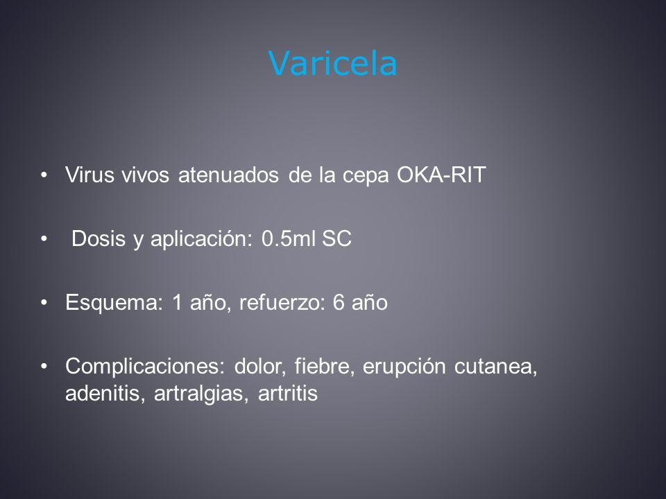 Varicela Virus vivos atenuados de la cepa OKA-RIT
