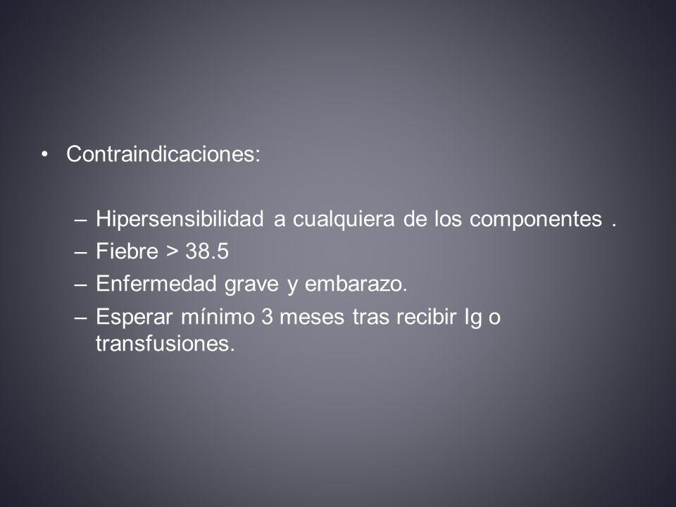 Contraindicaciones: Hipersensibilidad a cualquiera de los componentes . Fiebre > 38.5. Enfermedad grave y embarazo.