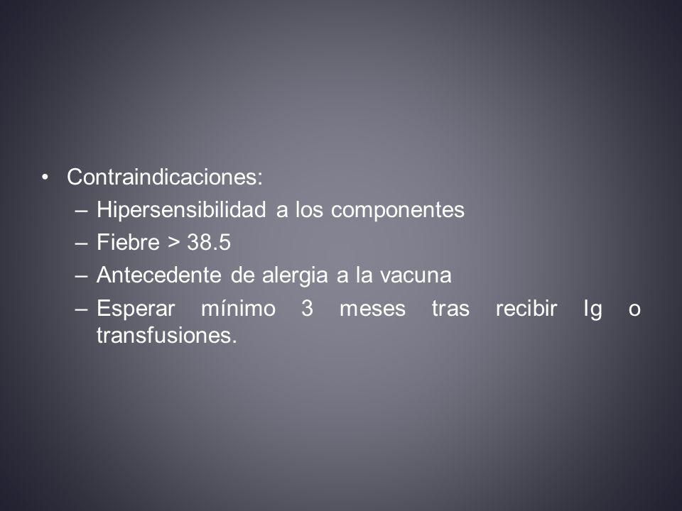 Contraindicaciones: Hipersensibilidad a los componentes. Fiebre > 38.5. Antecedente de alergia a la vacuna.