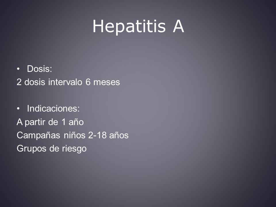Hepatitis A Dosis: 2 dosis intervalo 6 meses Indicaciones: