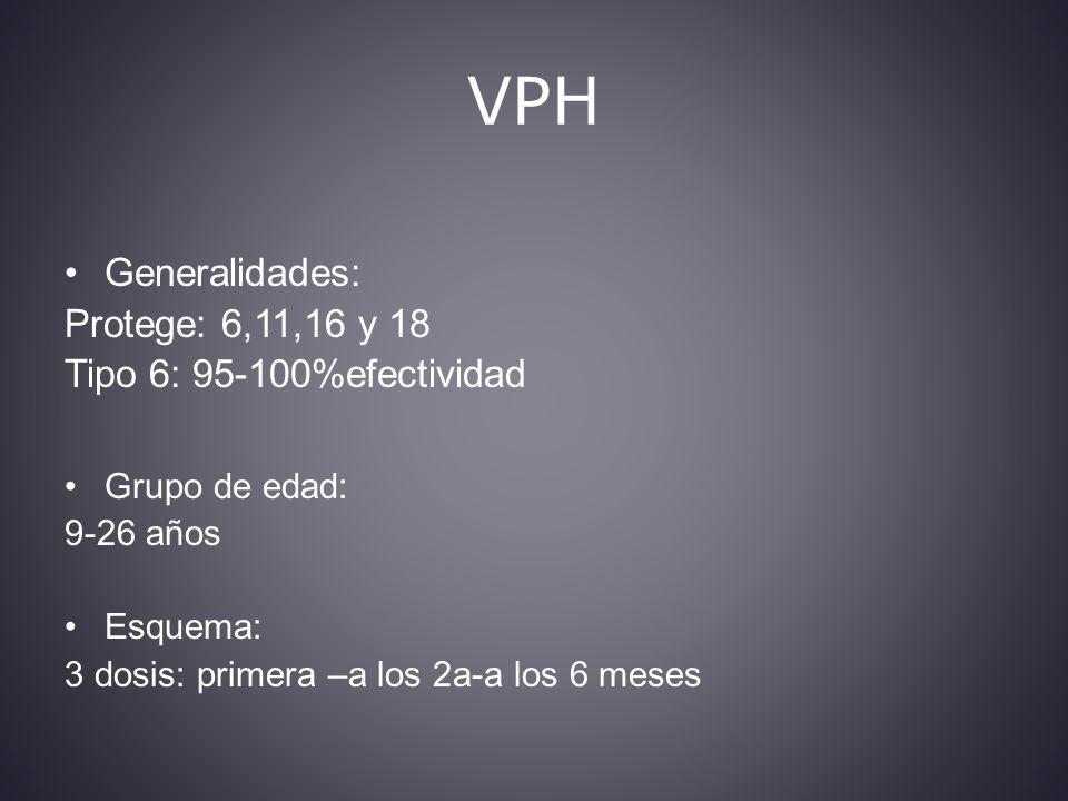 VPH Generalidades: Protege: 6,11,16 y 18 Tipo 6: 95-100%efectividad