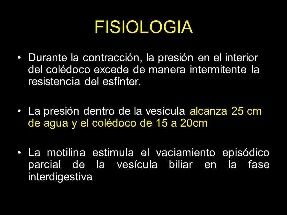 FISIOLOGIA Durante la contracción, la presión en el interior del colédoco excede de manera intermitente la resistencia del esfínter.