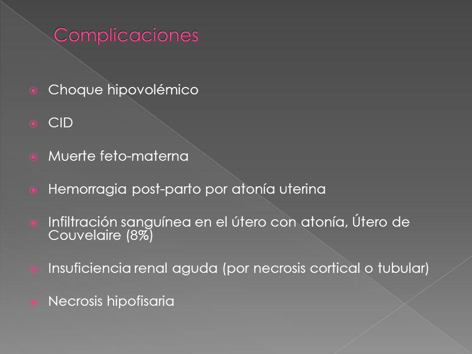 Complicaciones Choque hipovolémico CID Muerte feto-materna