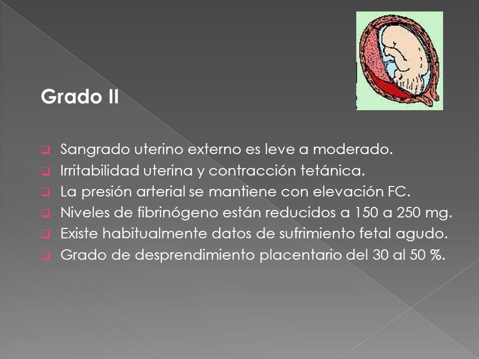 Grado II Sangrado uterino externo es leve a moderado.