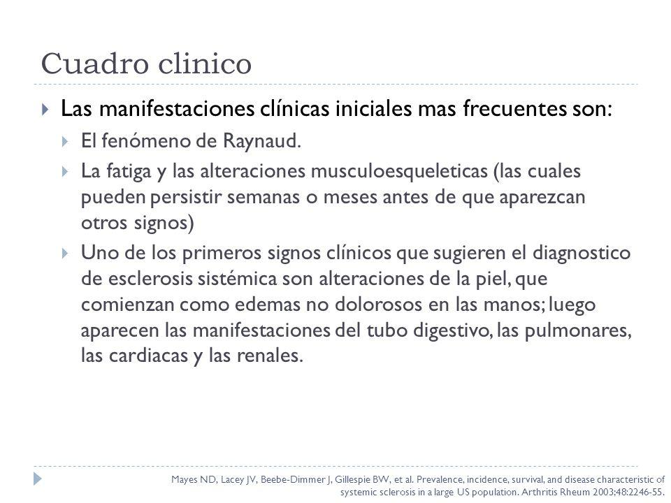 Cuadro clinico Las manifestaciones clínicas iniciales mas frecuentes son: El fenómeno de Raynaud.