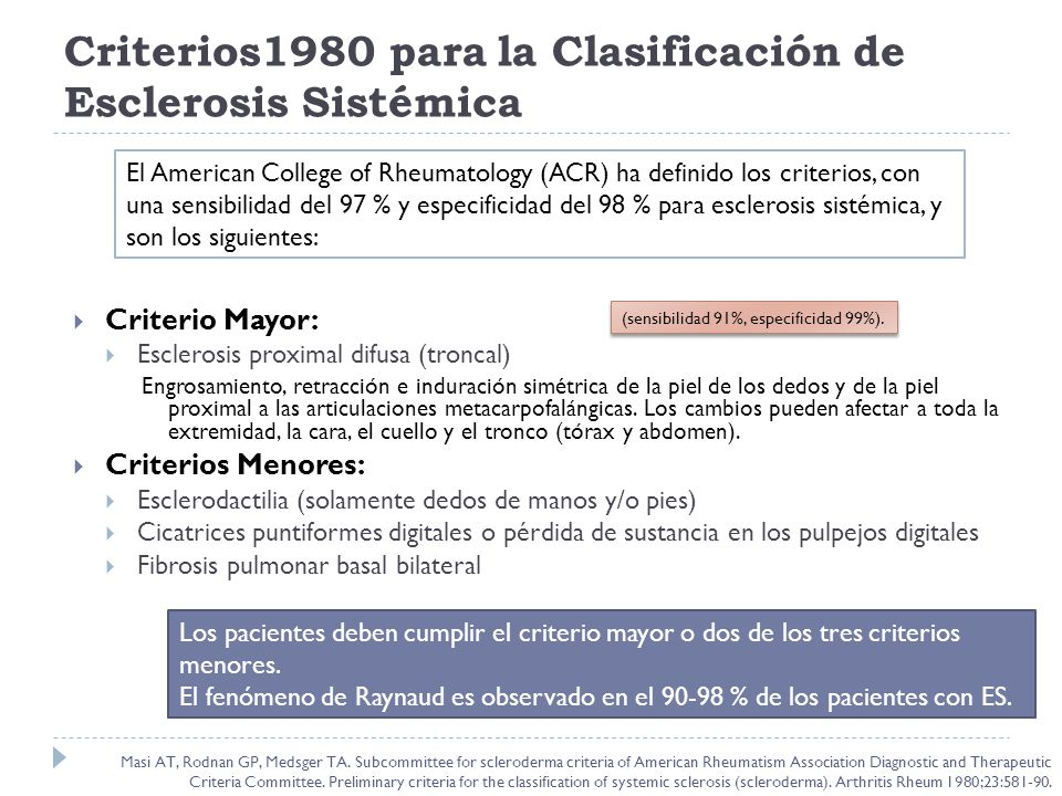 Criterios1980 para la Clasificación de Esclerosis Sistémica