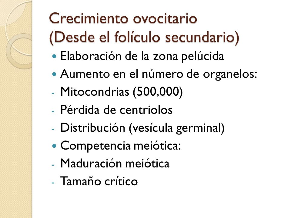 Crecimiento ovocitario (Desde el folículo secundario)