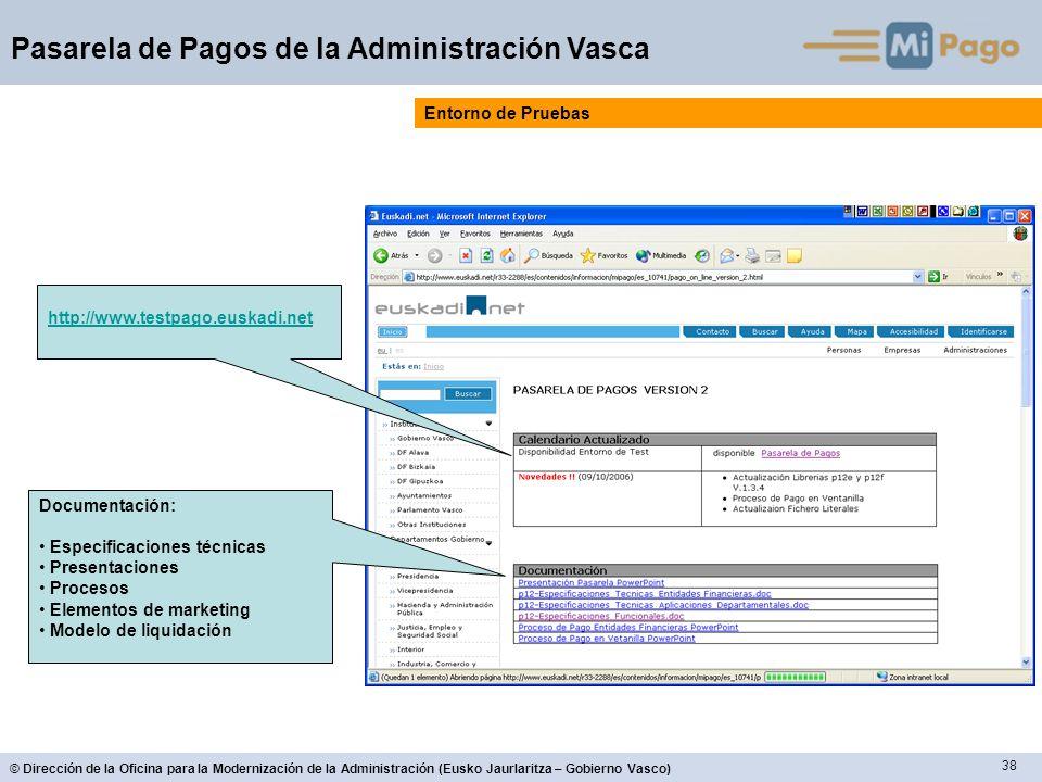 Entorno de Pruebas http://www.testpago.euskadi.net. Documentación: Especificaciones técnicas. Presentaciones.
