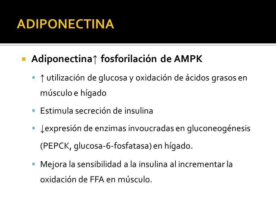 ADIPONECTINA Adiponectina↑ fosforilación de AMPK