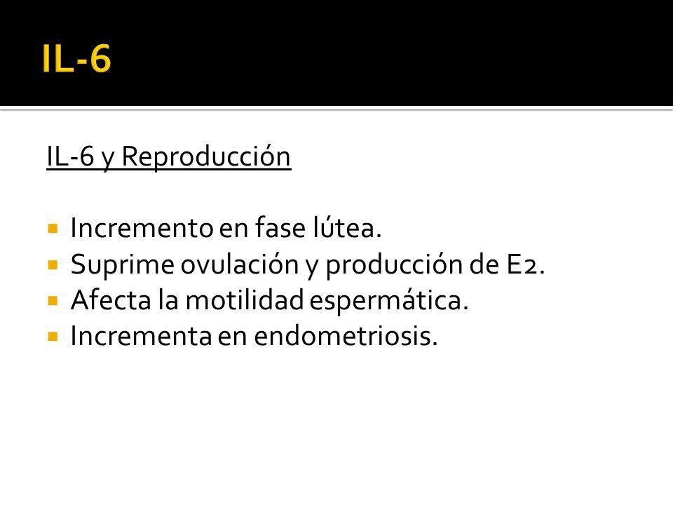 IL-6 IL-6 y Reproducción Incremento en fase lútea.