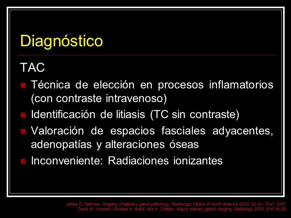 Diagnóstico TAC. Técnica de elección en procesos inflamatorios (con contraste intravenoso) Identificación de litiasis (TC sin contraste)