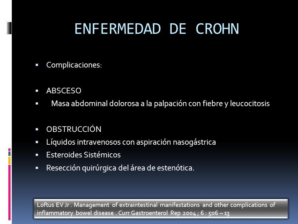 ENFERMEDAD DE CROHN Complicaciones: ABSCESO