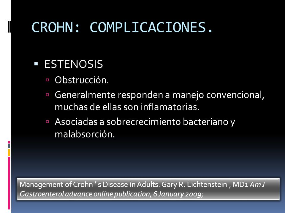 CROHN: COMPLICACIONES.