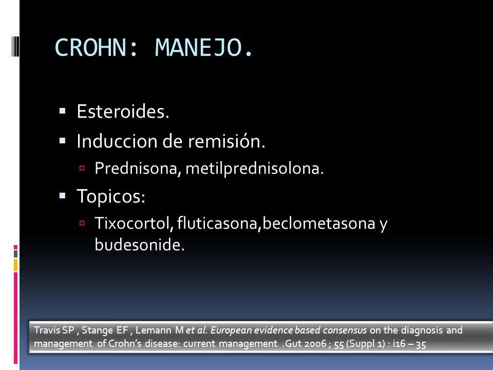 CROHN: MANEJO. Esteroides. Induccion de remisión. Topicos: