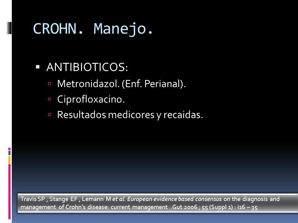 CROHN. Manejo. ANTIBIOTICOS: Metronidazol. (Enf. Perianal).