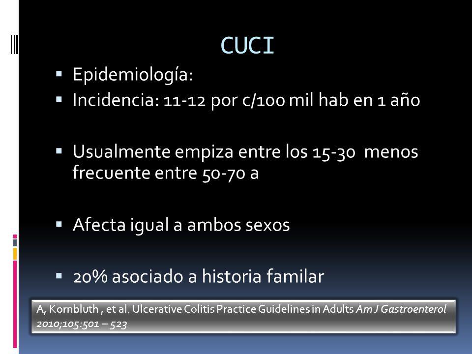 CUCI Epidemiología: Incidencia: 11-12 por c/100 mil hab en 1 año