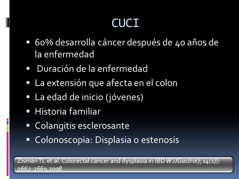 CUCI 60% desarrolla cáncer después de 40 años de la enfermedad