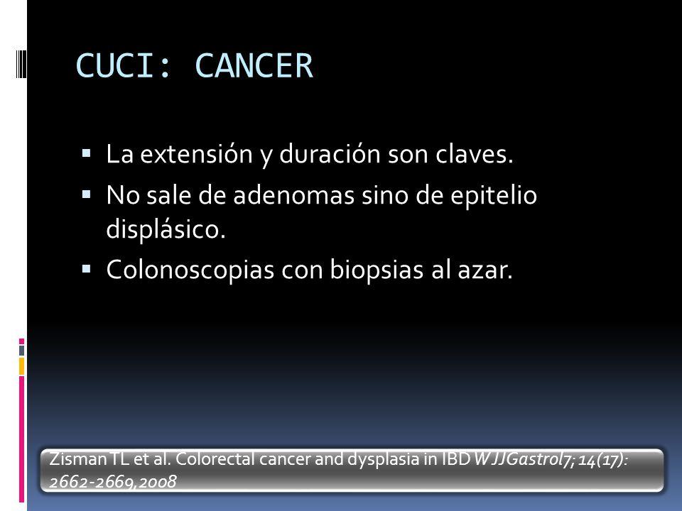 CUCI: CANCER La extensión y duración son claves.