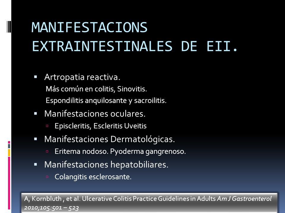 MANIFESTACIONS EXTRAINTESTINALES DE EII.