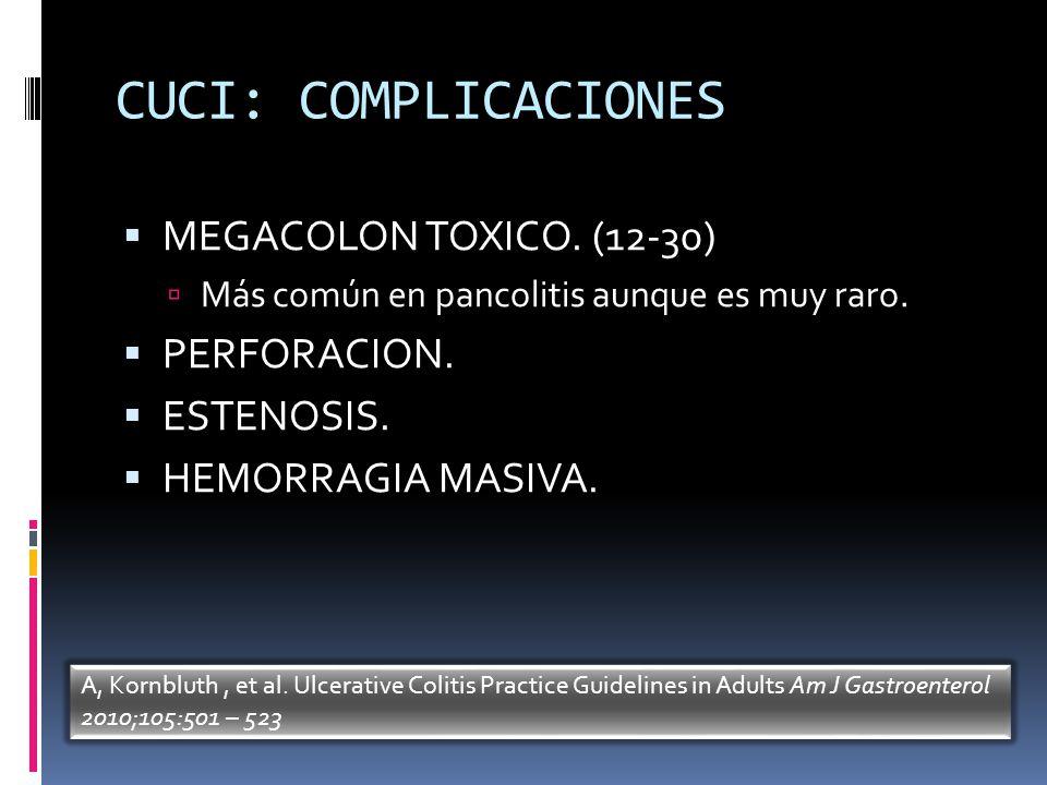 CUCI: COMPLICACIONES MEGACOLON TOXICO. (12-30) PERFORACION. ESTENOSIS.