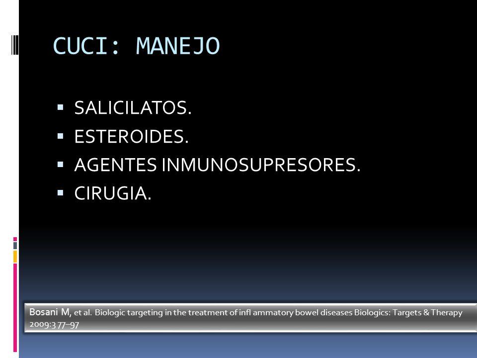 CUCI: MANEJO SALICILATOS. ESTEROIDES. AGENTES INMUNOSUPRESORES.