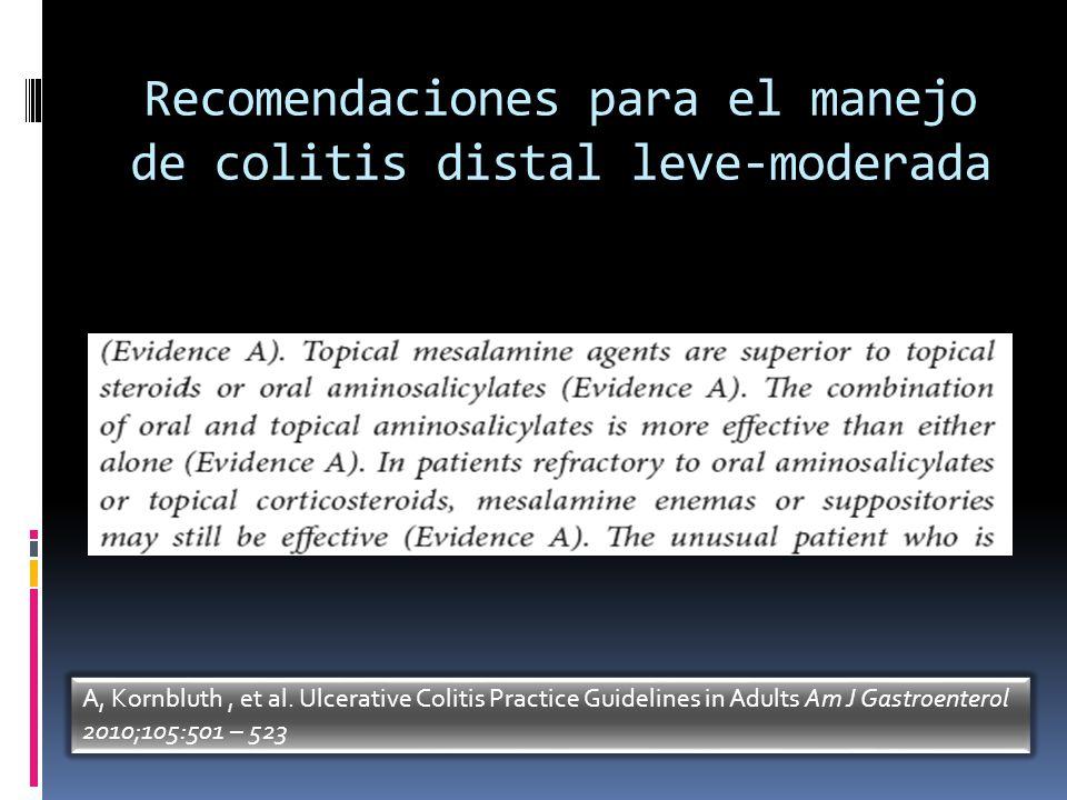 Recomendaciones para el manejo de colitis distal leve-moderada