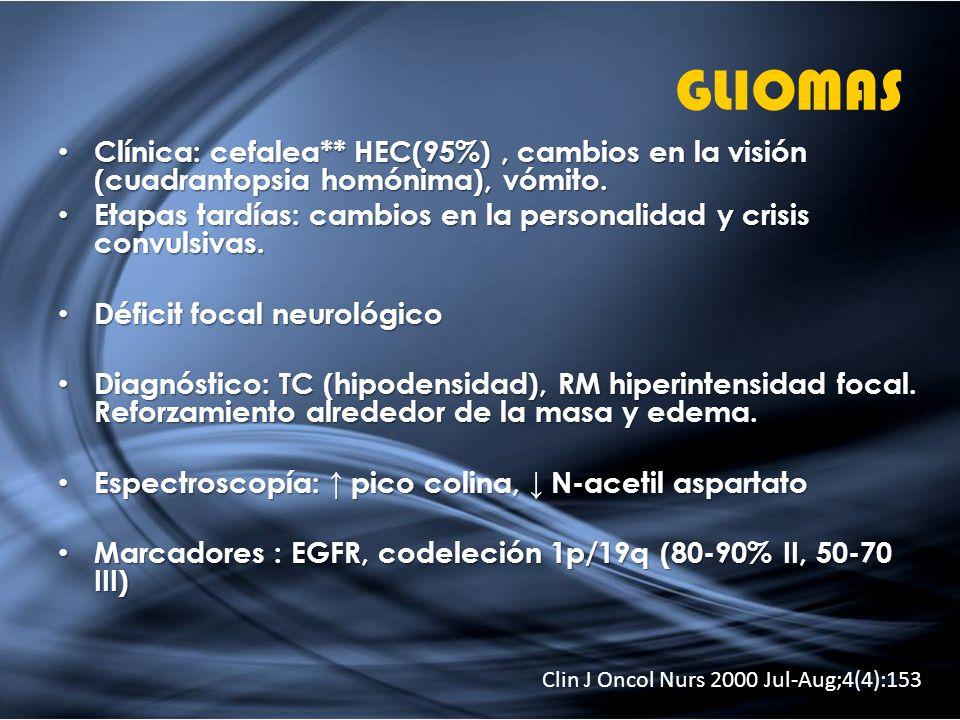 GLIOMAS Clínica: cefalea** HEC(95%) , cambios en la visión (cuadrantopsia homónima), vómito.