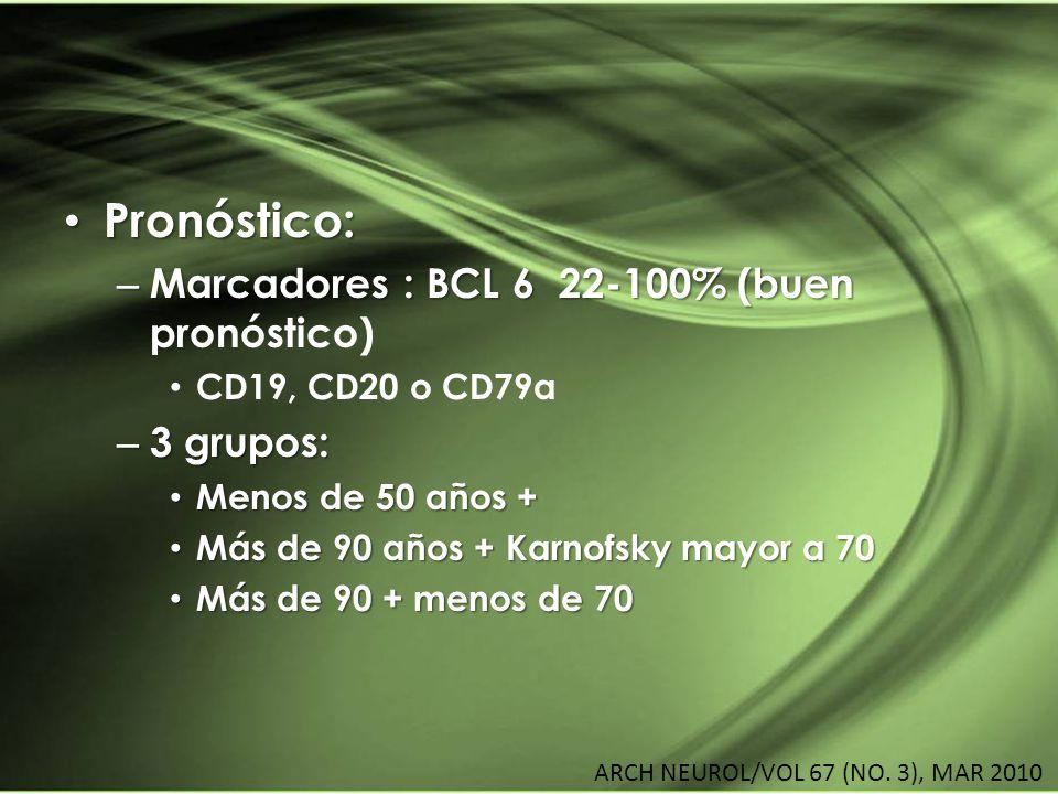 Pronóstico: Marcadores : BCL 6 22-100% (buen pronóstico) 3 grupos: