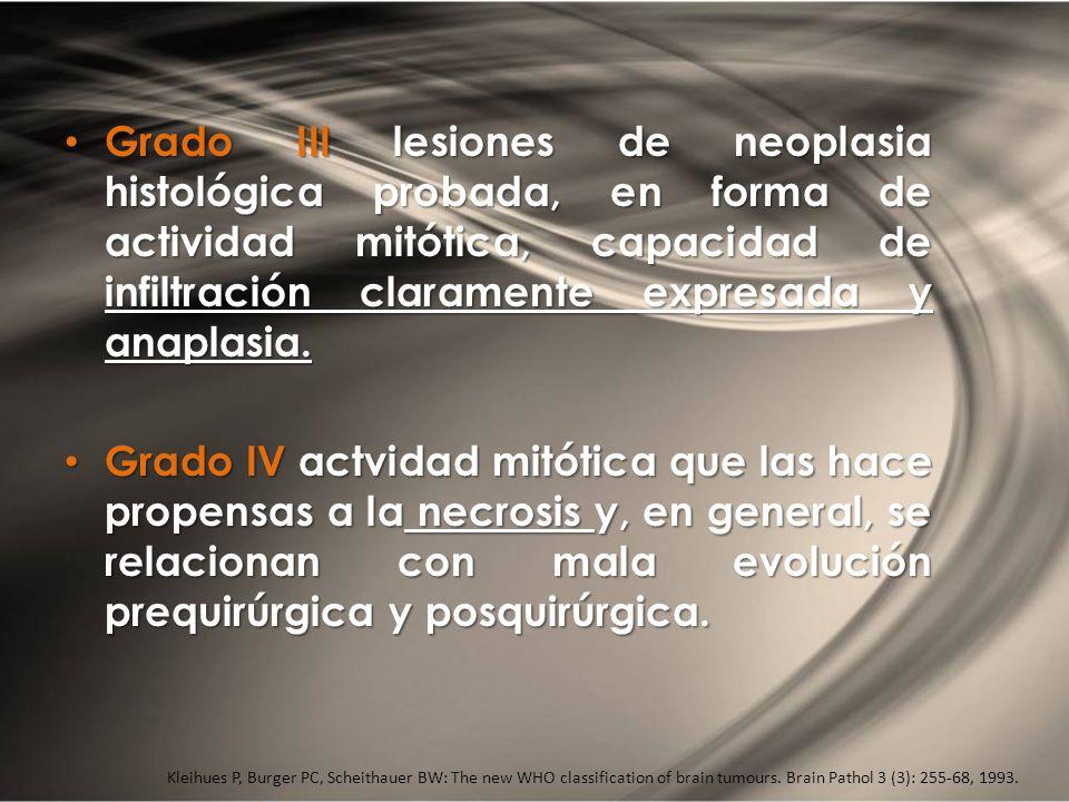 Grado III lesiones de neoplasia histológica probada, en forma de actividad mitótica, capacidad de infiltración claramente expresada y anaplasia.
