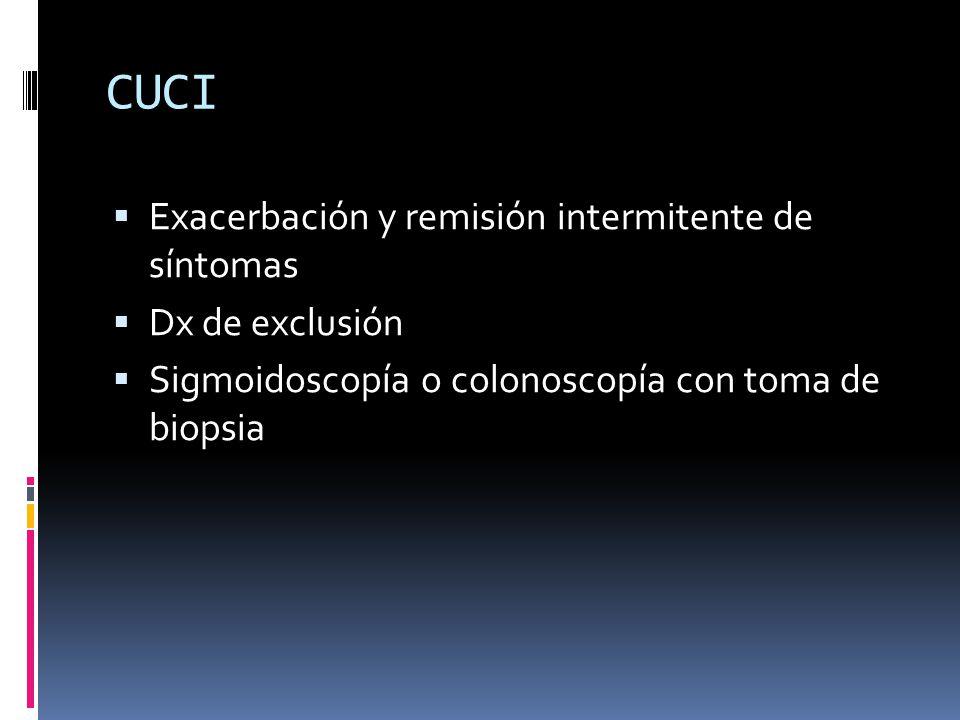 CUCI Exacerbación y remisión intermitente de síntomas Dx de exclusión