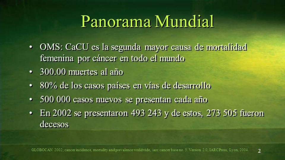 Panorama Mundial OMS: CaCU es la segunda mayor causa de mortalidad femenina por cáncer en todo el mundo.