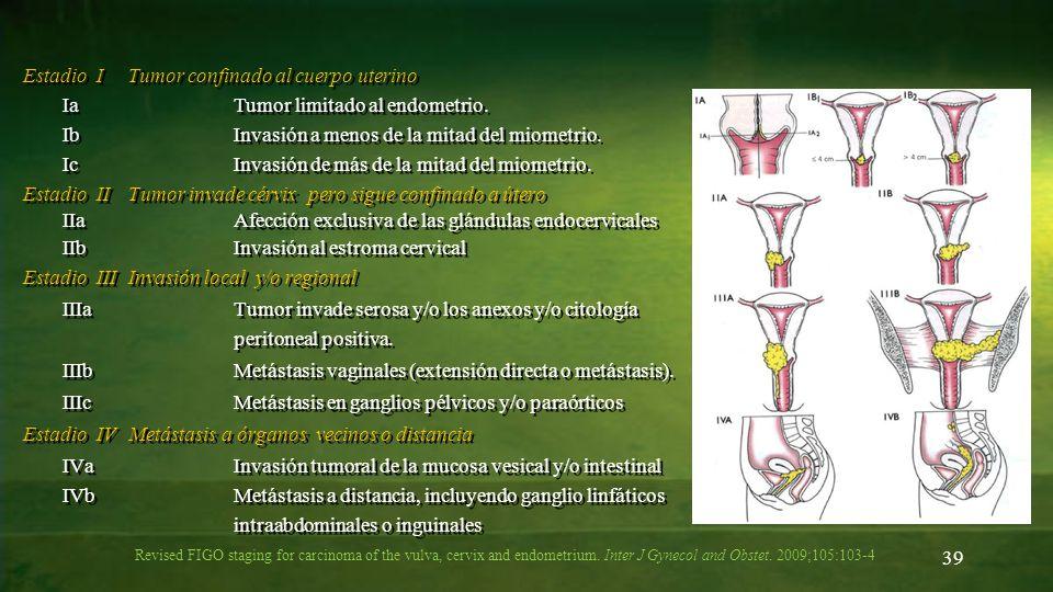 Estadio I Tumor confinado al cuerpo uterino Ia Tumor limitado al endometrio. Ib Invasión a menos de la mitad del miometrio. Ic Invasión de más de la mitad del miometrio. Estadio II Tumor invade cérvix pero sigue confinado a útero IIa Afección exclusiva de las glándulas endocervicales IIb Invasión al estroma cervical Estadio III Invasión local y/o regional IIIa Tumor invade serosa y/o los anexos y/o citología peritoneal positiva. IIIb Metástasis vaginales (extensión directa o metástasis). IIIc Metástasis en ganglios pélvicos y/o paraórticos Estadio IV Metástasis a órganos vecinos o distancia IVa Invasión tumoral de la mucosa vesical y/o intestinal IVb Metástasis a distancia, incluyendo ganglio linfáticos intraabdominales o inguinales