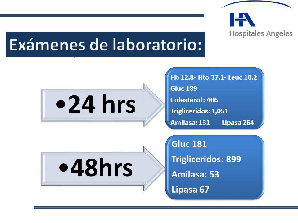 24 hrs 48hrs Exámenes de laboratorio: . Gluc 181 Trigliceridos: 899