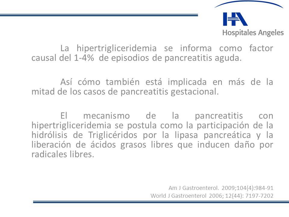 La hipertrigliceridemia se informa como factor causal del 1-4% de episodios de pancreatitis aguda.