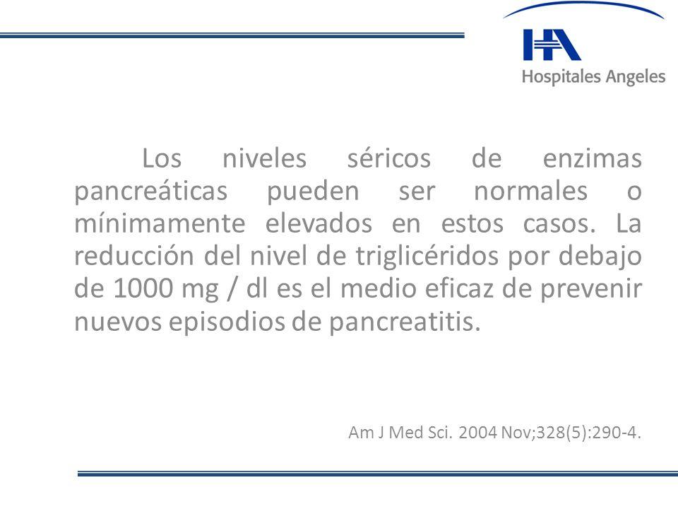 Los niveles séricos de enzimas pancreáticas pueden ser normales o mínimamente elevados en estos casos. La reducción del nivel de triglicéridos por debajo de 1000 mg / dl es el medio eficaz de prevenir nuevos episodios de pancreatitis.