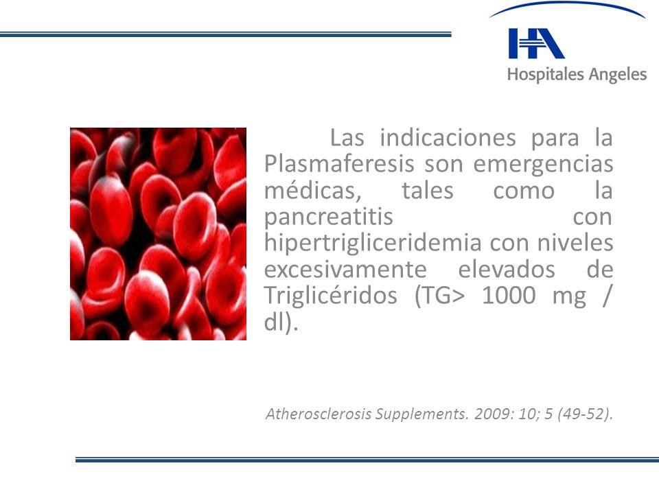 Las indicaciones para la Plasmaferesis son emergencias médicas, tales como la pancreatitis con hipertrigliceridemia con niveles excesivamente elevados de Triglicéridos (TG> 1000 mg / dl).