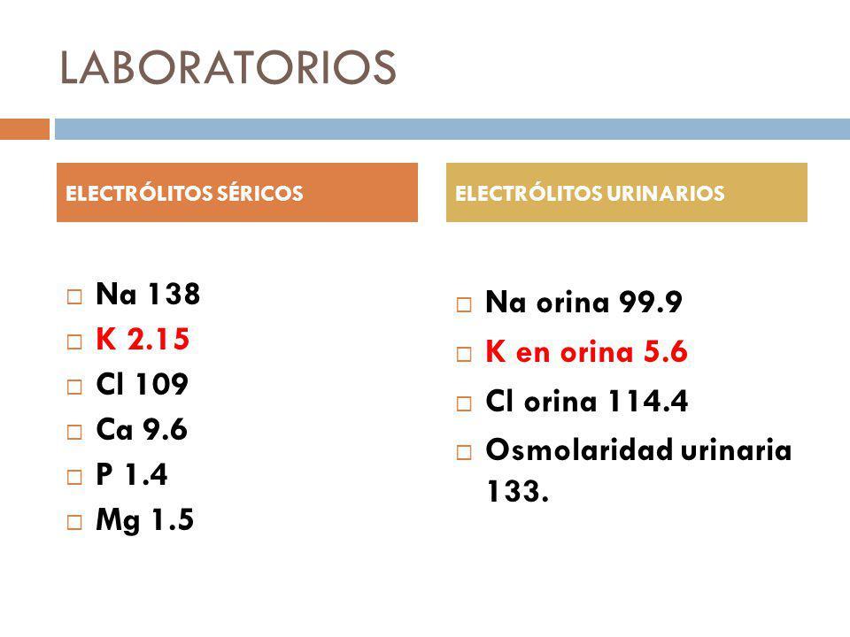 LABORATORIOS Na 138 Na orina 99.9 K 2.15 K en orina 5.6 Cl 109